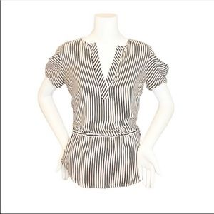 BCBGMaxazria Striped 100% Silk Blouse- XXS